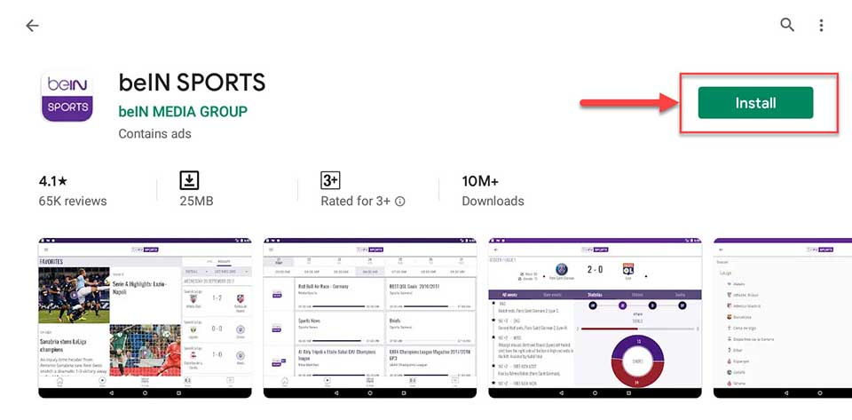 Download and Install beIN SPORTS app For Windows 10/8/7