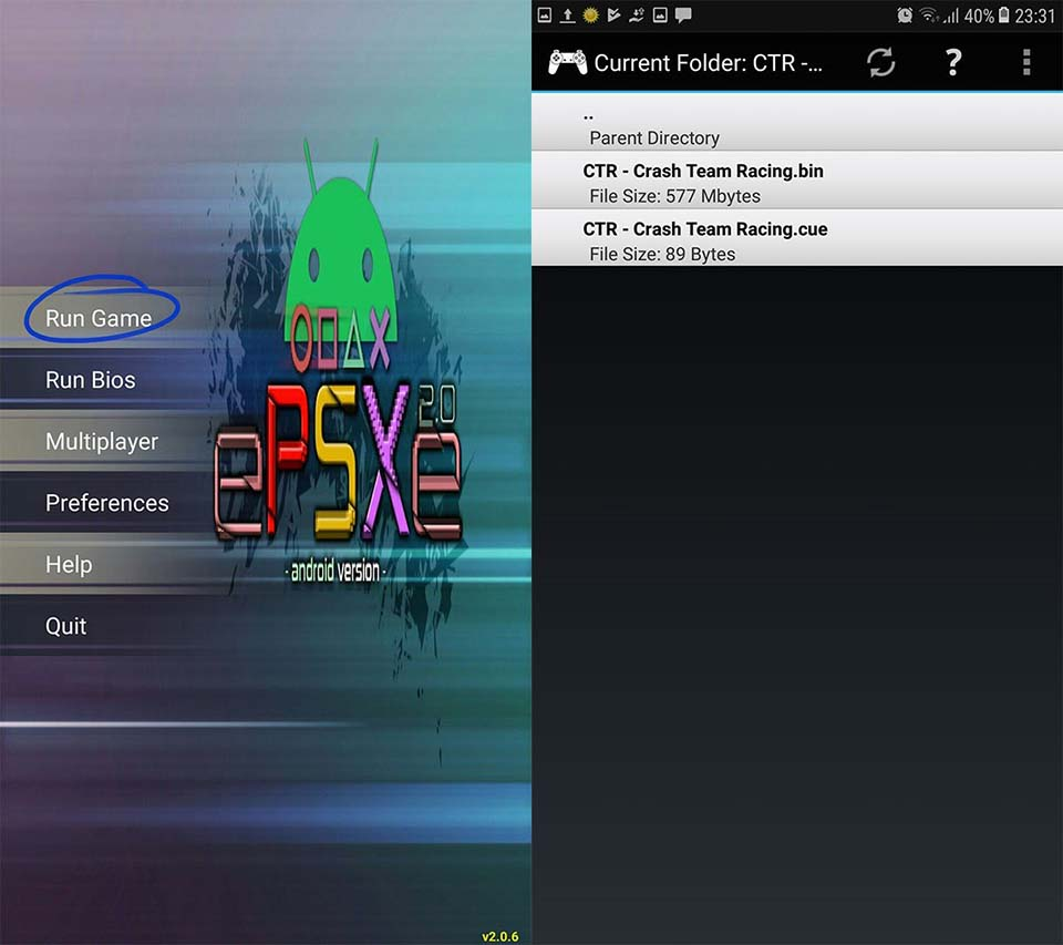 Play PS1 game on Android device